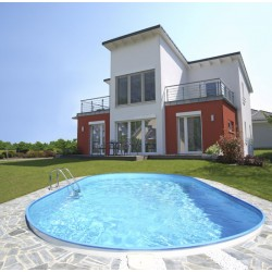 Vgradni ovalni bazen set FLAMINGO 8,00x 4,20x 1,50 m, peščeni filter 11 m3/h