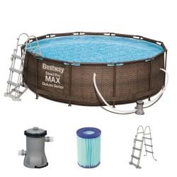 Okrogli montažni bazen Bestway Power Steel RATTAN, 366x100 cm,serija Deluxe set