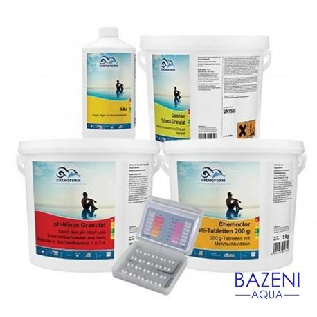 Set za brezskrbno poletje - MINI Paket sredstev za popolno nego bazenske vode, za bazene do 20 m³