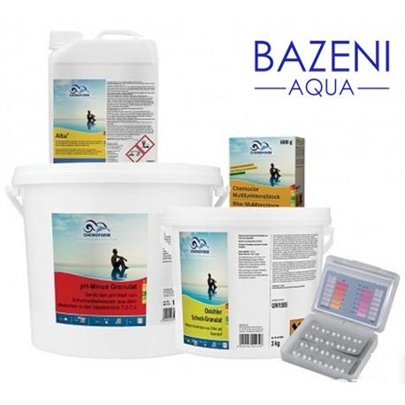 Set za brezskrbno poletje - MEDIUM, do 40 m³ Paket sredstev za popolno nego bazenske vode, za bazene do 40 m³.