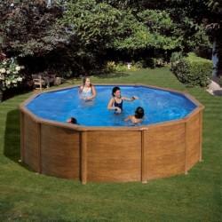 Prostostoječ okrogel bazen KIT 558W, 550x132cm, imitacija lesa