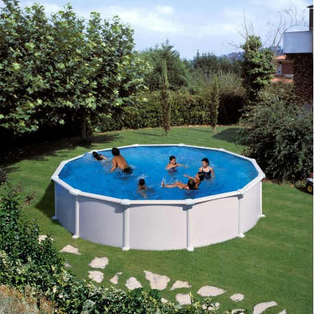 Prostostoječ okrogel bazen KIT PR 558, 550x132cm, belo lakiran