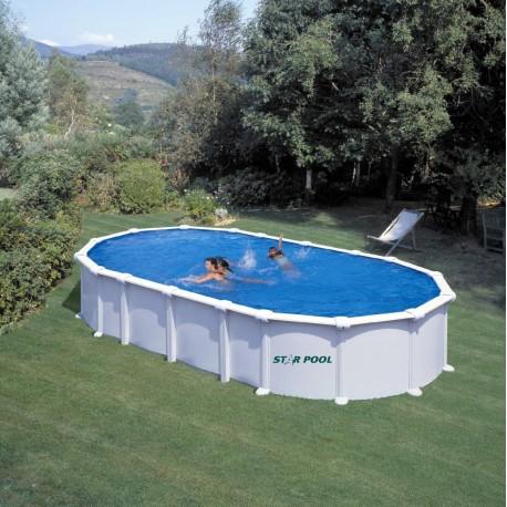 Prostostoječ montažni ovalen bazen KIT PROV 7388, 730x375x132cm, belo lakiran.