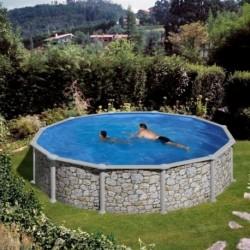 Prostostoječ samostoječ okrogel bazen KIT 460P, 460x120cm, imitacija naravnega kamna