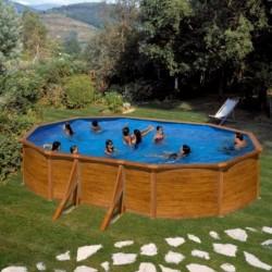 Prostostoječ montažni ovalen bazen KIT 500W, 500x300x120cm, imitacija lesa
