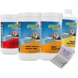 Starter paket; klor granulat, klorove tablete, algicid, ph minus, pooltester